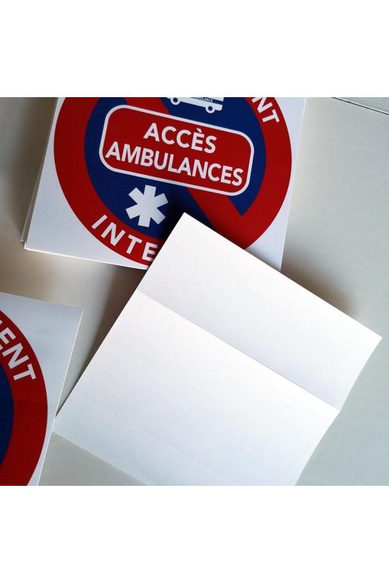 """Autocollants stationnement """"accès réservé aux ambulances"""""""